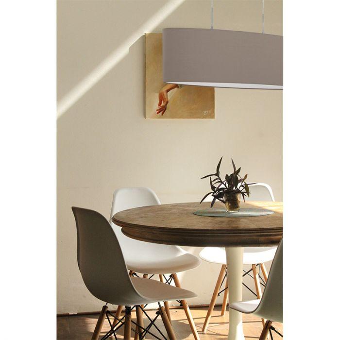 Ovale taupe hanglamp Abano Stof