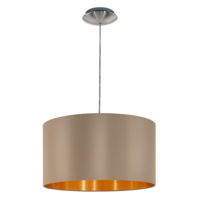 Luxe stoffen hanglamp Terme Taupe Goud