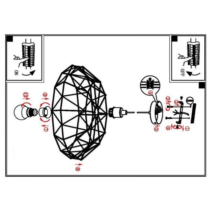 Schieran hanglamp Zwart metalen gaas