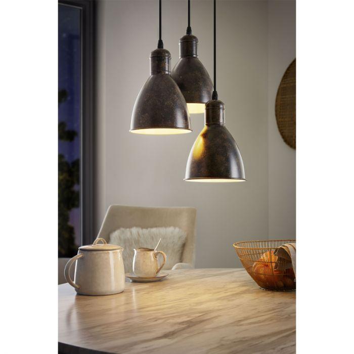 Hanglamp Lavinio Rond 3 antiek koperen lampenkappen