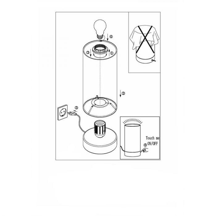 Angel tafellamp - Nikkel-Mat