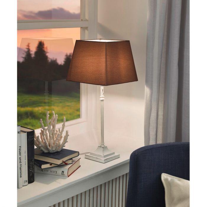 Landelijke tafellampvoet Noah Staal Patina Wit