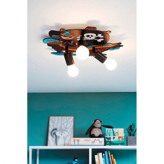 Houten plafondlamp Misja veelkleurig