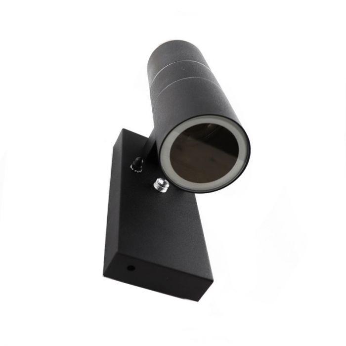 Zwarte buitenlamp, schemersensor Pedro, roestvrij staal (rvs)