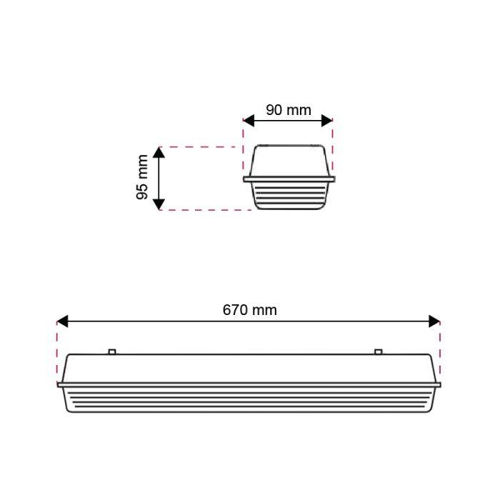 60 cm waterdicht LED TL armatuur Dura, voor 1 TL