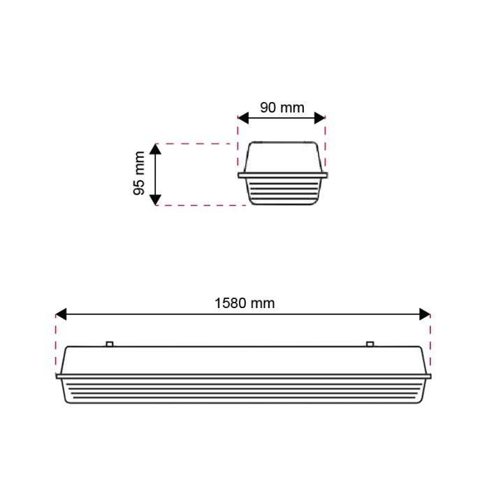 150 cm waterdicht LED TL armatuur Dura, voor 1 TL
