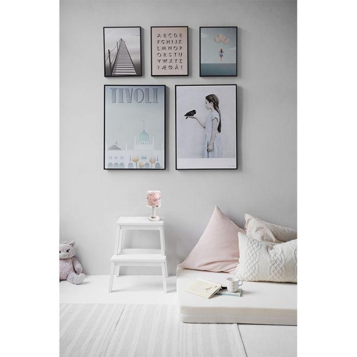 Roze babykamer tafellamp meisjes - Met wolken
