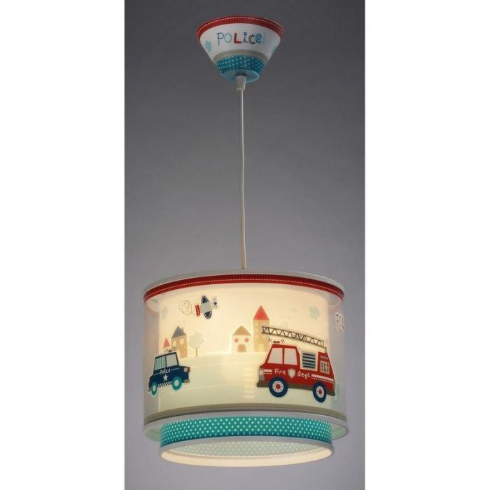 Politie hanglamp jongenskamer - Blauw Rood