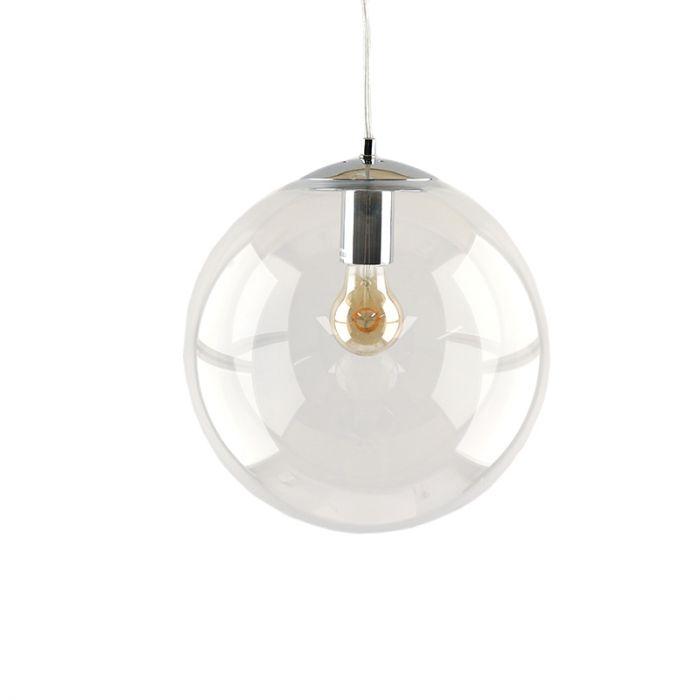 Bol hanglamp Dolf, chroom ophangpendel, Transp. glas, 20cm