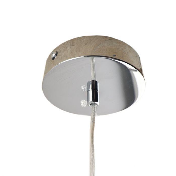 Bol hanglamp Dolf, chroom ophangpendel, Transp. glas, 30cm