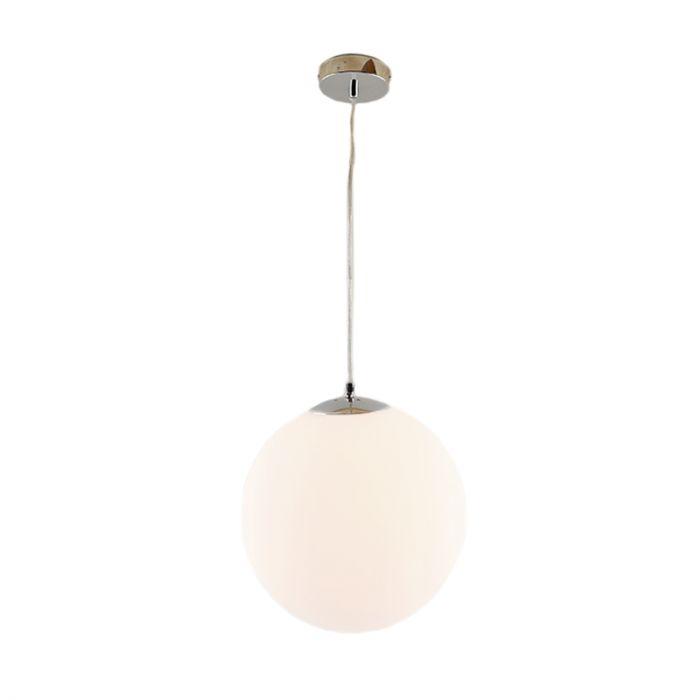 Bol hanglamp Dolf, chroom ophangpendel, melkglas, 20cm
