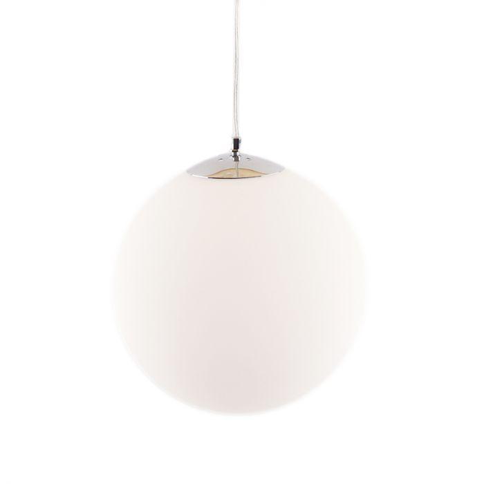 Bol hanglamp Dolf, chroom ophangpendel, melkglas, 40cm