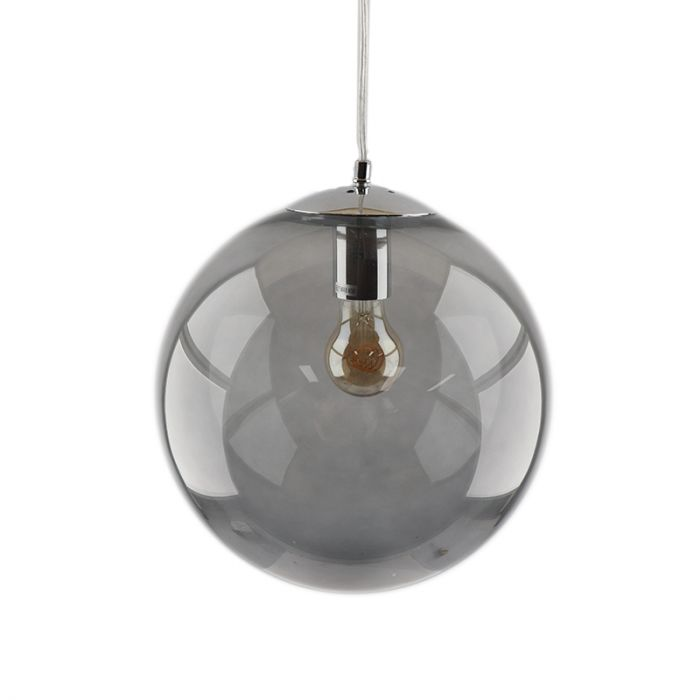 Bol hanglamp Dolf, chroom ophangpendel, rookglas, 20cm