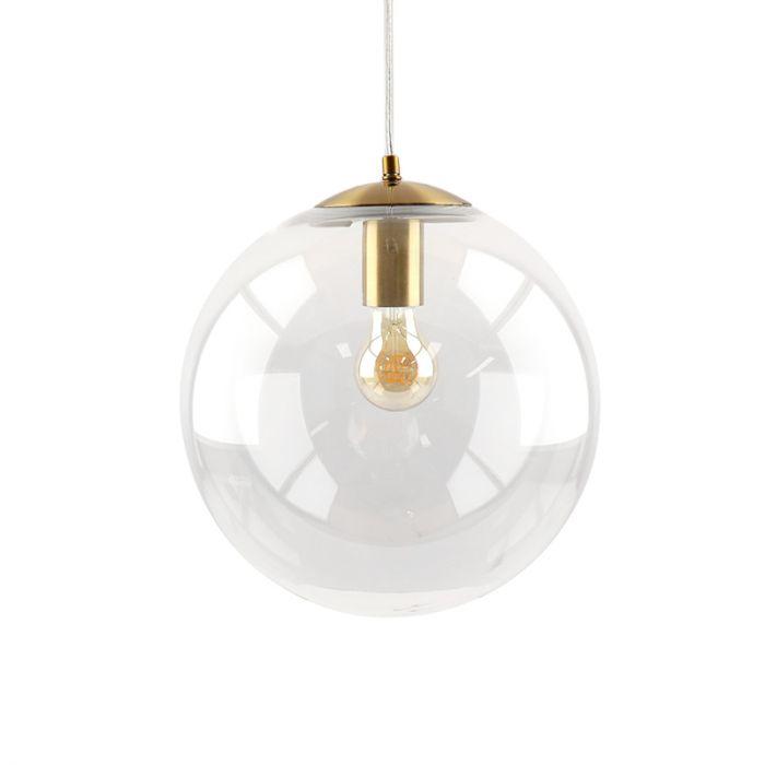 Bol hanglamp Dolf, brons ophangpendel, Transp. glas, 30cm