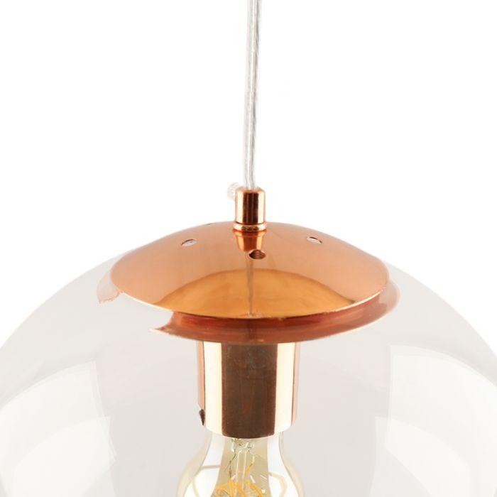 Bol hanglamp Dolf, koper ophangpendel, Transp. glas, 30cm
