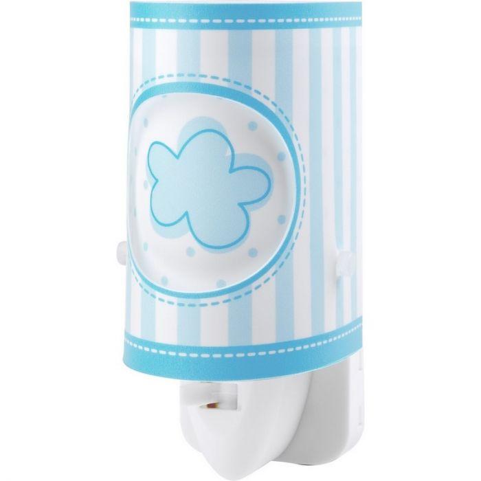 Lichtblauwe babykamer stekker wandlamp bloemetjes