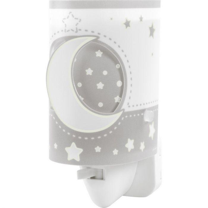 Grijze baby stekker wandlamp Maan en sterren