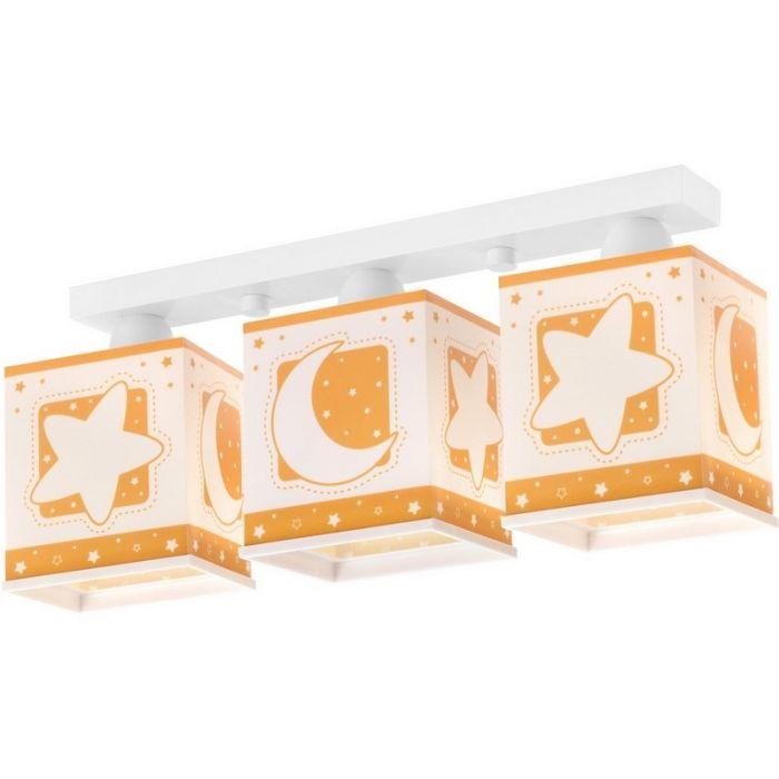 Oranje babykamer plafondlamp Maan en sterren