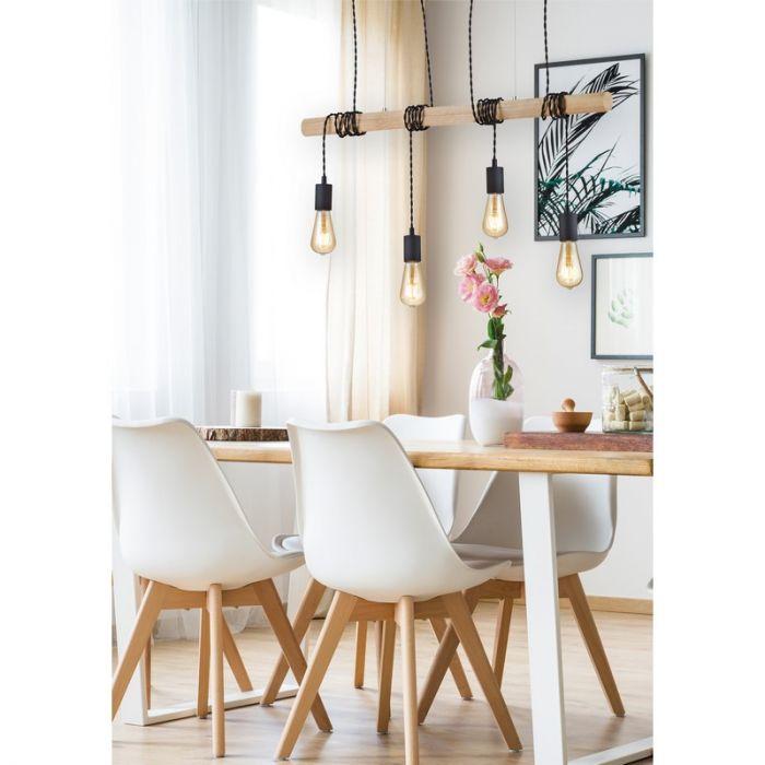 Zwarte hanglamp Chiamaka, metaal, modern