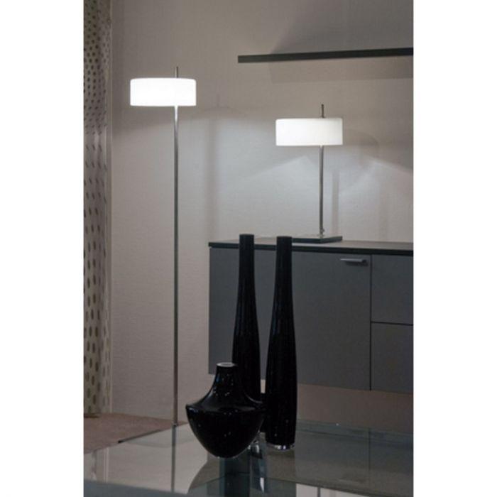 Moderne Kiana vloerlamp, wit glas