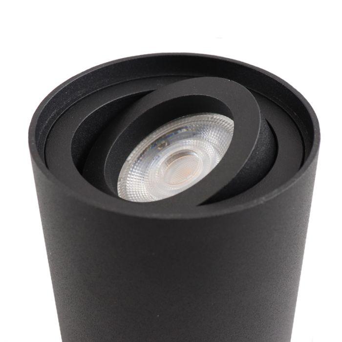 Ronde, zwarte opbouwspot Silke, Richtbaar