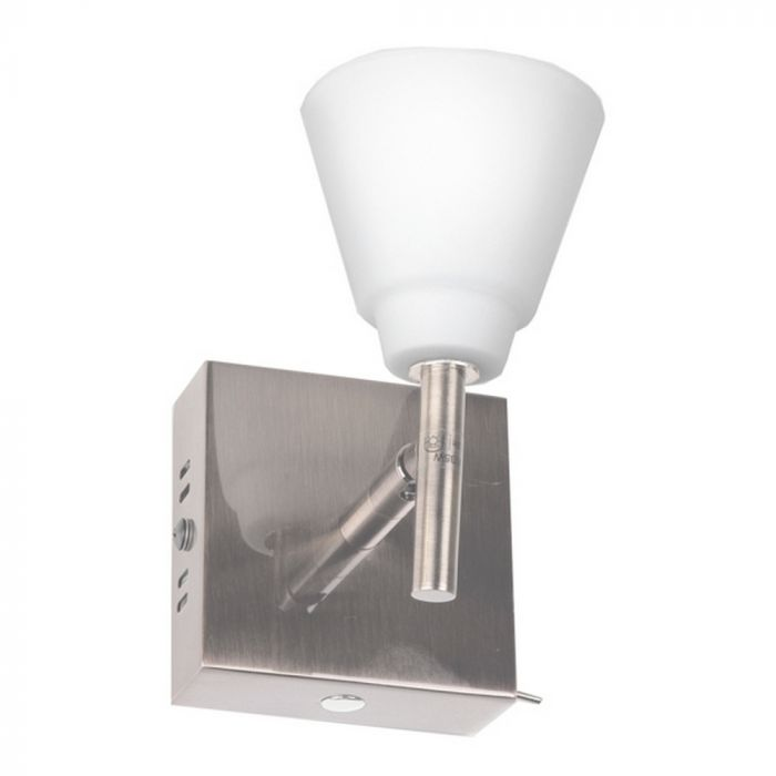 Liset klassieke wandlamp, nikkel