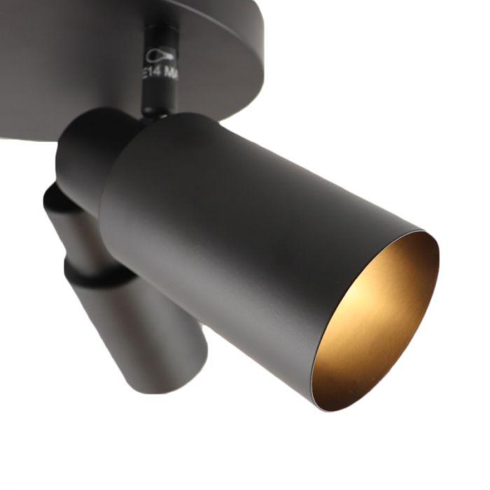 Moderne plafondspot Elena, rond, zwart, 3L