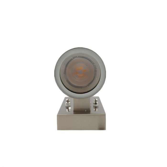 Buiten Up/Down wandlamp met schemersensor Pedro, roestvrij staal (rvs)