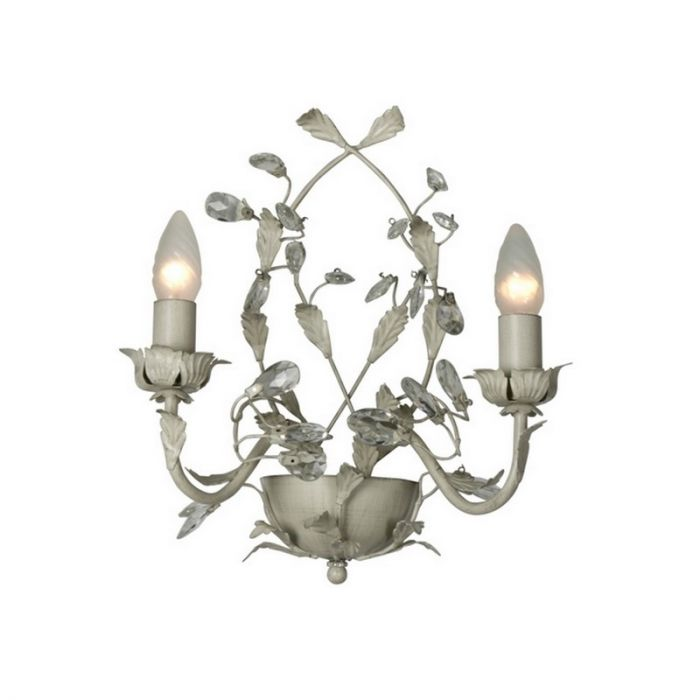 Landelijke wandlamp Jeftha, grijs/beige