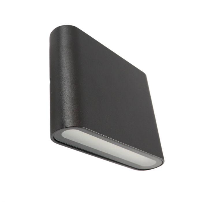 Zwarte up/down buitenlamp Cailey, met geïntegreerd LED, klein, rond