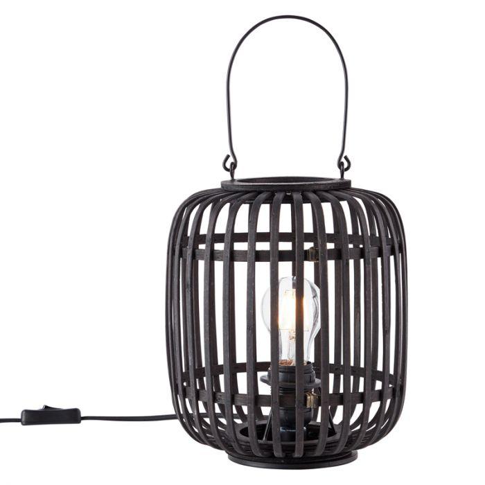 Moderne Tafellamp Brain, Zwart, hout