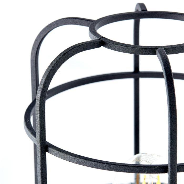 Industriële Tafellamp Taede, Zwart, hout