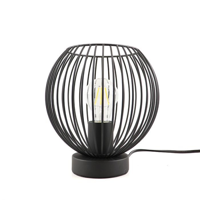 Zwarte tafellamp met aan/uit schakelaar Wiro 20 cm, Rond