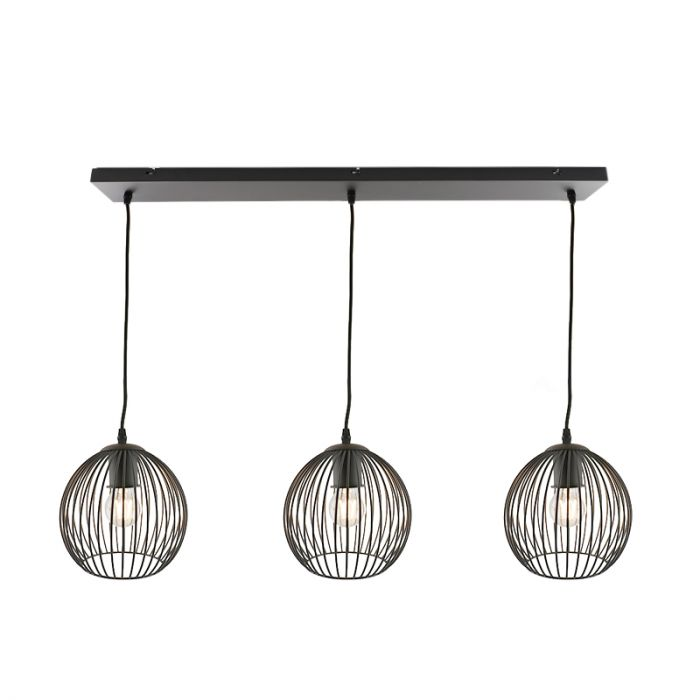Zwarte Wiro hanglamp met 3 ronde, 20cm,  kappen