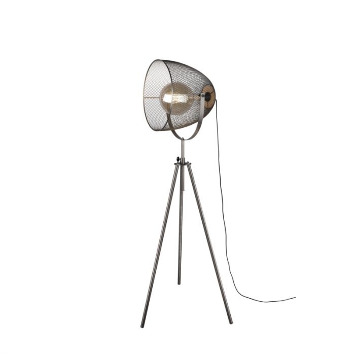 Vintage driepoot vloerlamp Fadil, nikkel