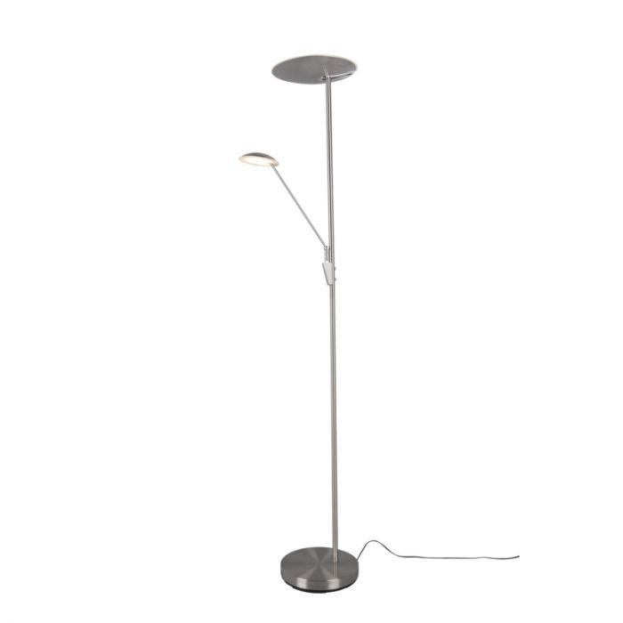 Moderne staande leeslamp Michon, nikkel, 33w geintegreerd LED