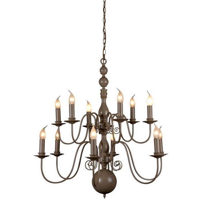 Quincy kroonluchter, 6 dubbele lampjes, taupe