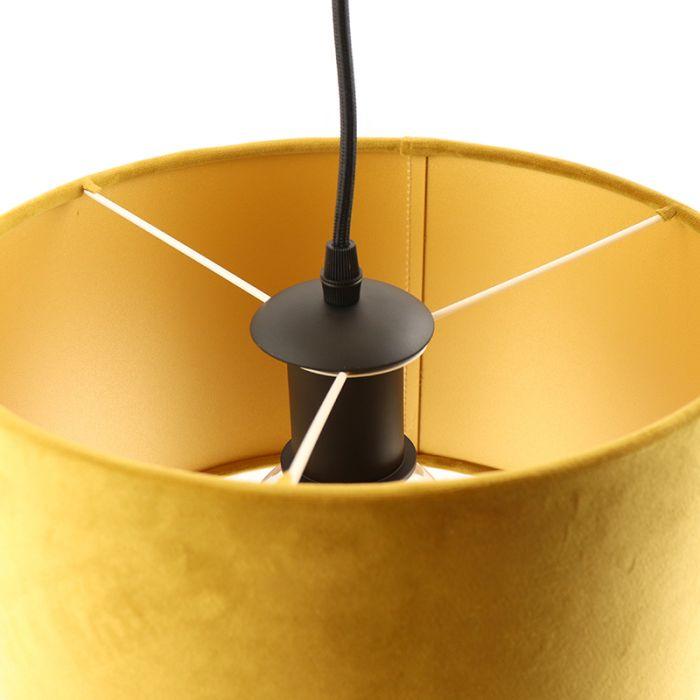 Hanglamp Urvin, geel met goud velours, 30 cm