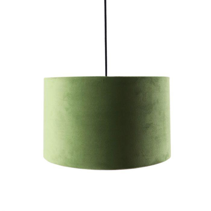 Hanglamp Urvin, olijfgroen met goud velours, 30 cm