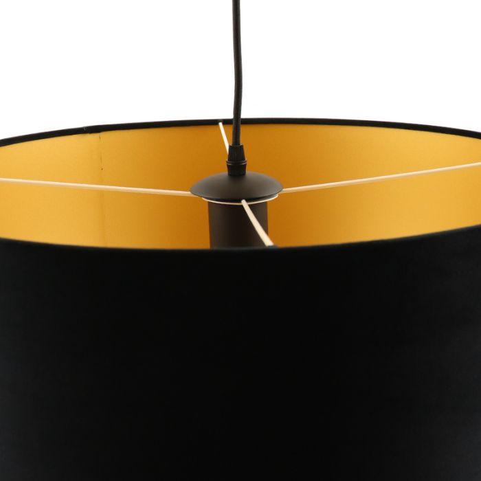 Hanglamp Urvin, zwart met goud velours, 40 cm