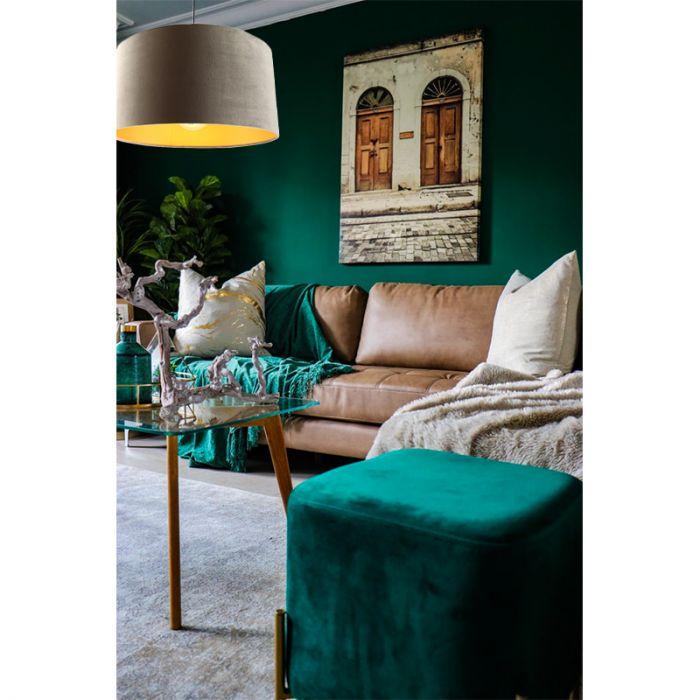Hanglamp Urvin, grijs met goud velours, 50 cm