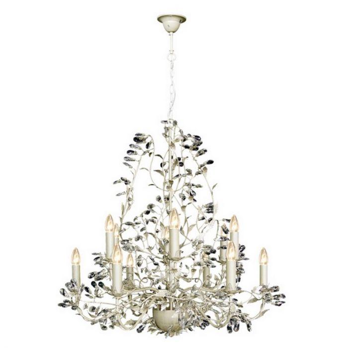 Kroonluchter Jeftha klassiek, 12-lichts, creme/zilver