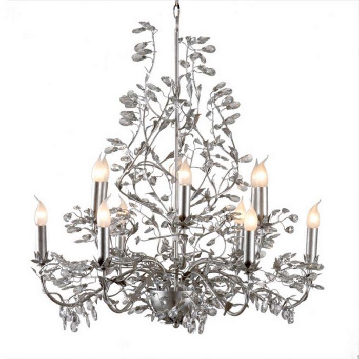 Kroonluchter Jeftha klassiek, 12-lichts, zilver