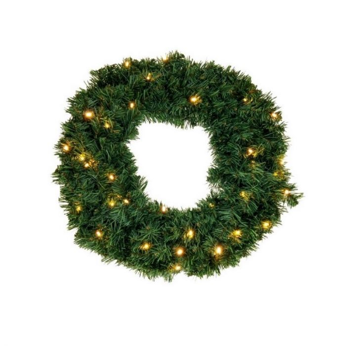 Groene kerstkrans Christy, 90 cm, incl. 100 leds