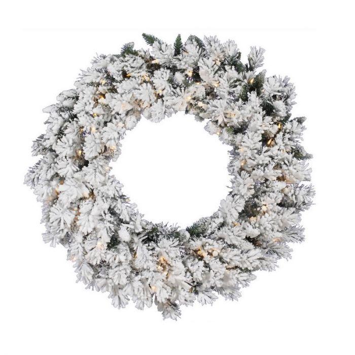 Besneeuwde kerstkrans Flock, 150 cm, incl. 100 leds