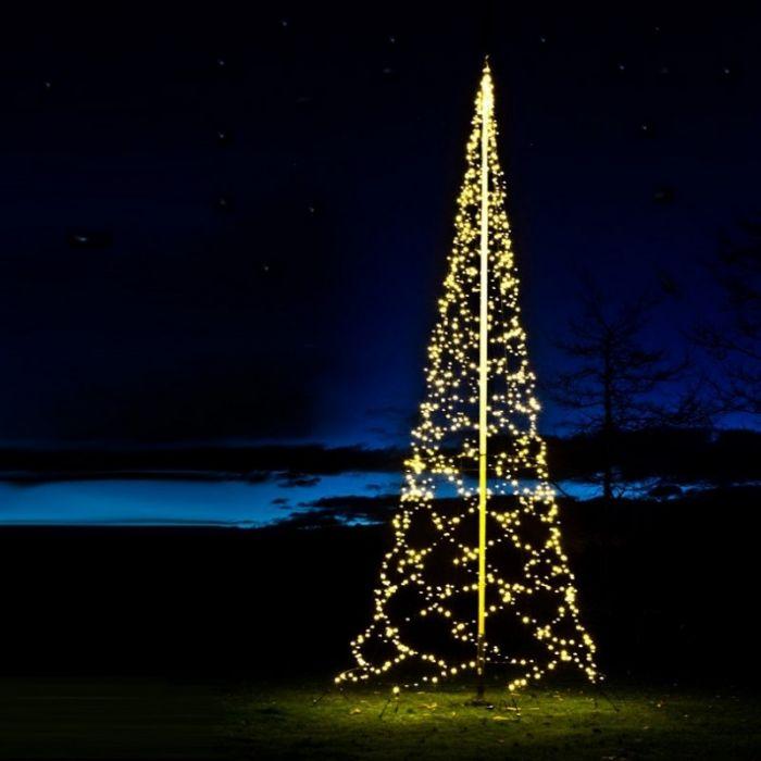 8M hoge vlaggenmast kerstboom, 1500 twinkelende lampjes