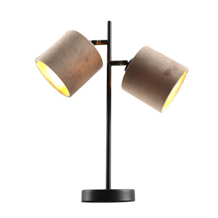 Zwarte tafellamp talita, modern, met 2 taupe/gouden lampenkappen