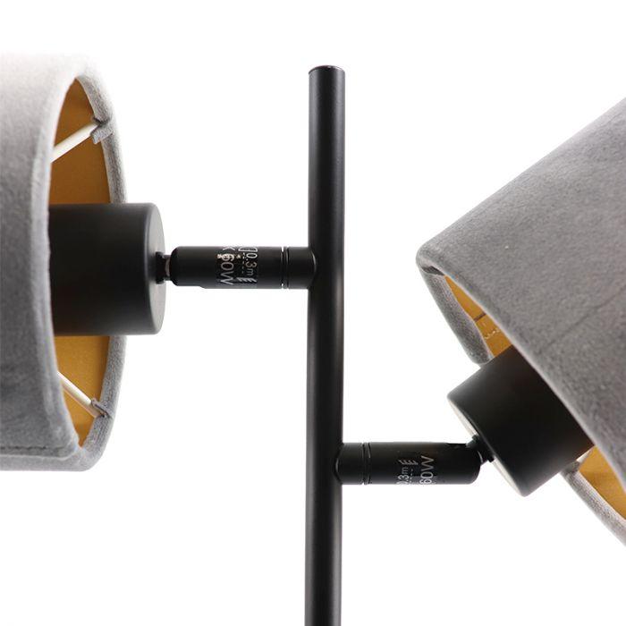 Zwarte tafellamp talita, modern, met 2 grijs/gouden lampenkappen