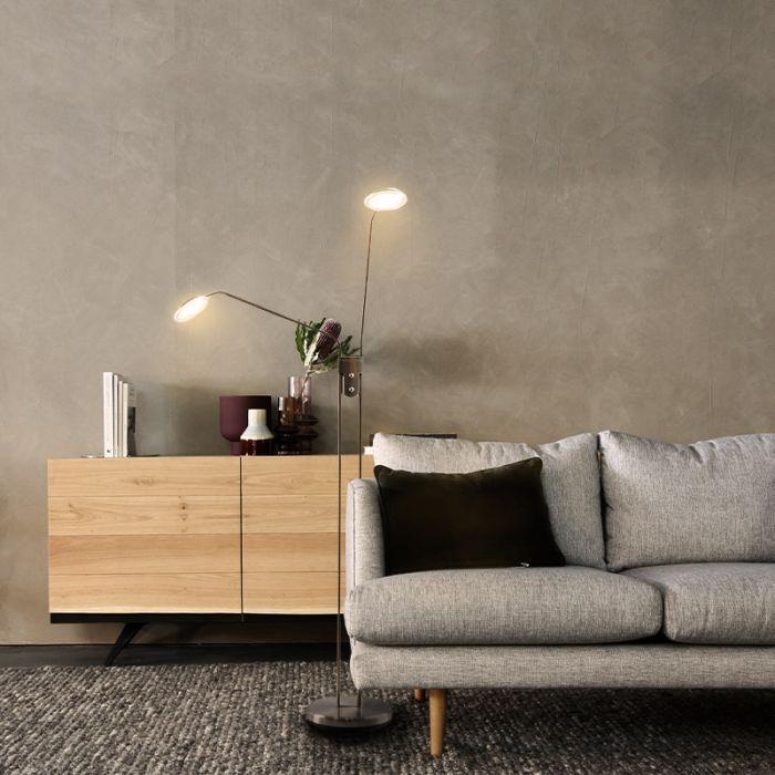 Moderne staande leeslamp Salvador, 2L, Nikkel