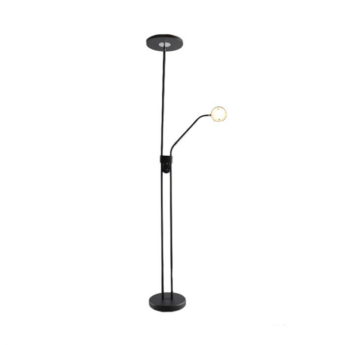 Salvador moderne zwarte vloerlamp, incl.  2 LEDS en draaidimmer